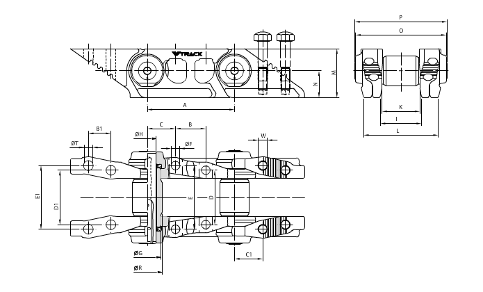 Чертеж ГУСЕНИЧНАЯ ЦЕПЬ SALT - VG0105L042